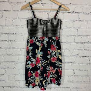 BILLABONG Floral Skirt Striped Top Mini Dress L